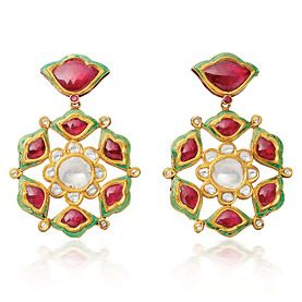 Lotus Flower EarringsDiamond & Ruby with enamel detailing on reverse set in gold