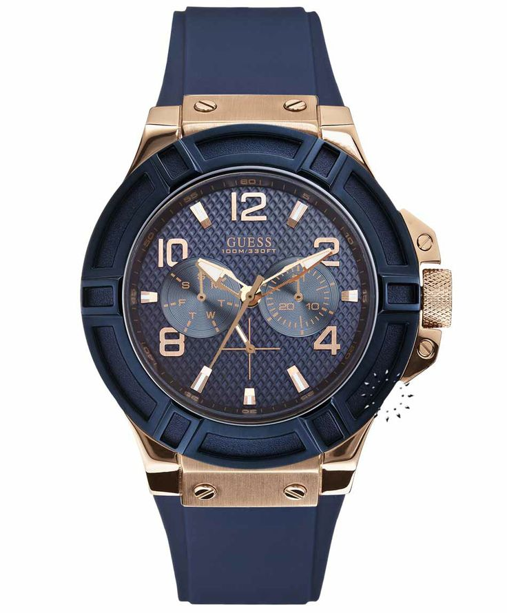 GUESS Men's Multifunction Rose Gold Blue Rubber Strap Η τιμή μας: 169€ http://www.oroloi.gr/product_info.php?products_id=35141