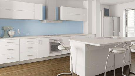 Fuji White Kitchen Blue Splashback Dulux Brewsters