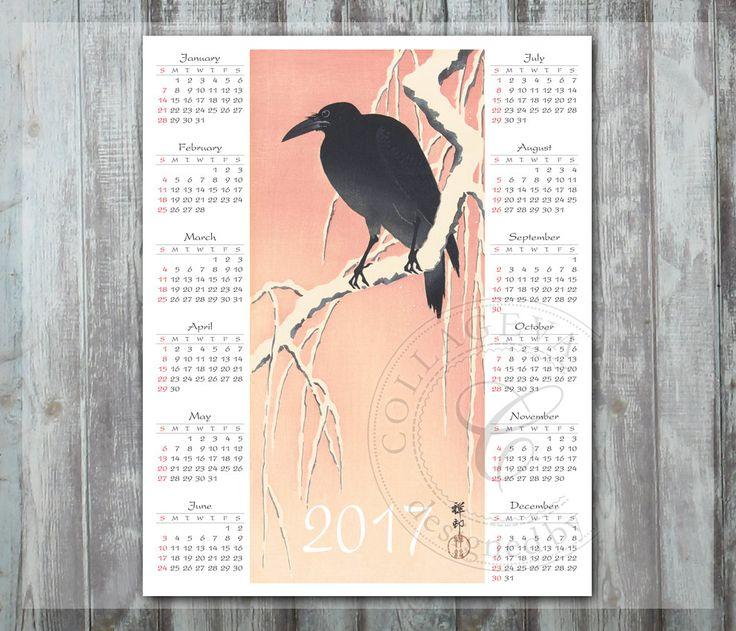 "2017 Digital Calendar, Printable DIY Year Calendar, Black Crow Goth Pink Winter Watercolor, 8x10"" PDF JPG Wallart Instant Download (C013-17) by collageva on Etsy"