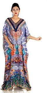 5dc37ccc815 Silk Kaftan Beautiful Womans one Piece Jewelled Full Length Resort wear  Beach Coverup Kaftan Dress Gorgeous Maxi Gown 253