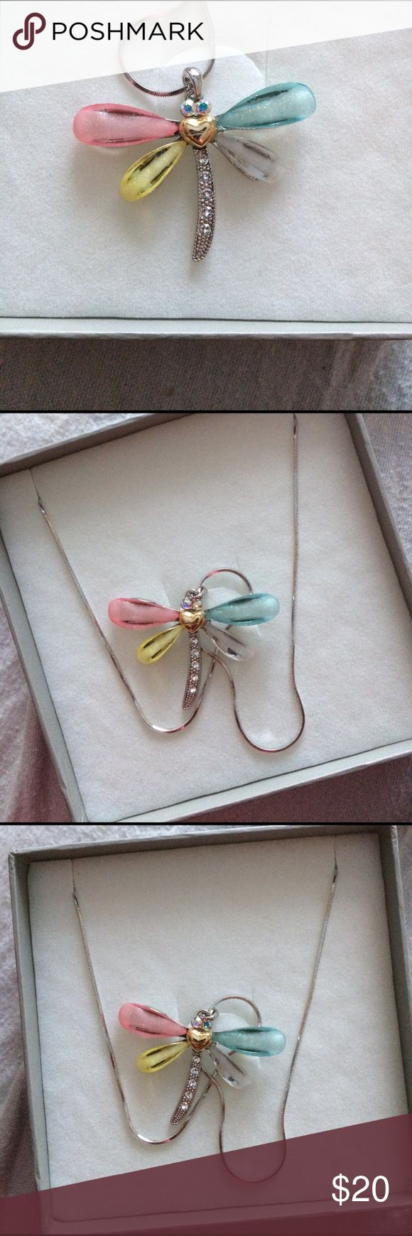 Beautiful dragonfly necklace. Colorful dragonfly necklace. Still in box & has never been worn Jewelry Necklaces