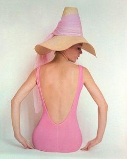 .: Pink Swimsuits, Beaches, Vintage Pink, Color, Pink Ladies, Summer, Vintage Hats, Bath Suits, Bath Beautiful
