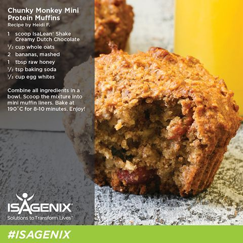 chunky-monkey-muffins, chocolate protein powder, Isagenix shake, isagenix recipe, Isagenix muffins, Healthy muffins, Protein packed snacks