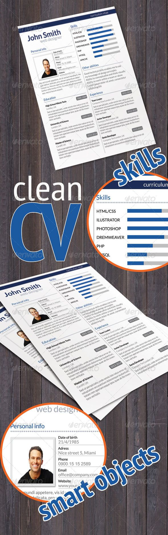 Clean CV  #GraphicRiver        Clean CV  Elegant CV, ideal for your application for job  Modern and Clean Resume  File include 1 PSD file  Fully layerd  Free font used: Lato (  .google /fonts/specimen/Lato ) Please dont't forget to rate!                     Created: 6 December 13                    Graphics Files Included:   Photoshop PSD                   Layered:   Yes                   Minimum Adobe CS Version:   CS                   Print Dimensions:   8.5x11             Tags…
