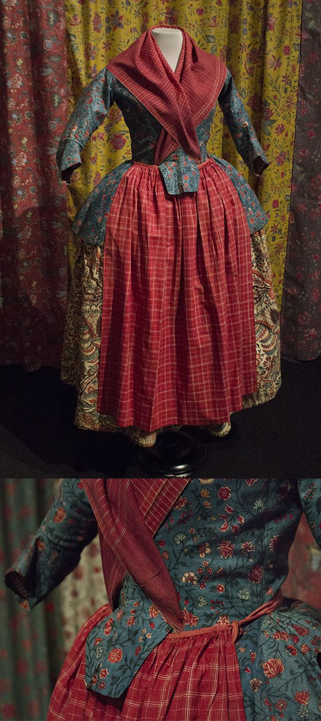 Chintz skirt & jacket combination, worn with fichu and skirt of 'oostindisch bont', indian checkered fabric.
