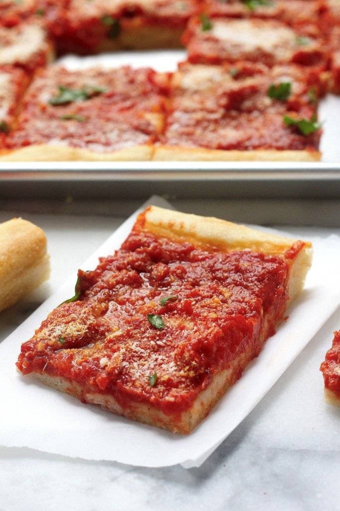 Tomato Pie - a Summertime Classic! Thick, chewy crust topped with tangy tomato sauce! Everyone loves this!