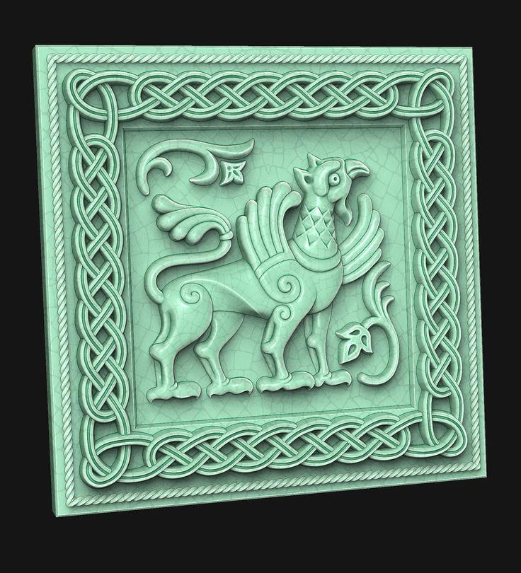 Griffin. (tile). 3D model for CNC milling machine. Simulation programs: MoI, ArtCam, ZBrush. Private order.