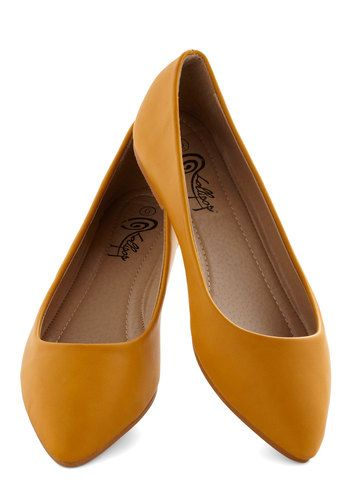 Defined the Scenes Flat in Mustard - Yellow, Solid, Casual, Flat, Good, Faux Leather, Work, Minimal, Variation, Basic