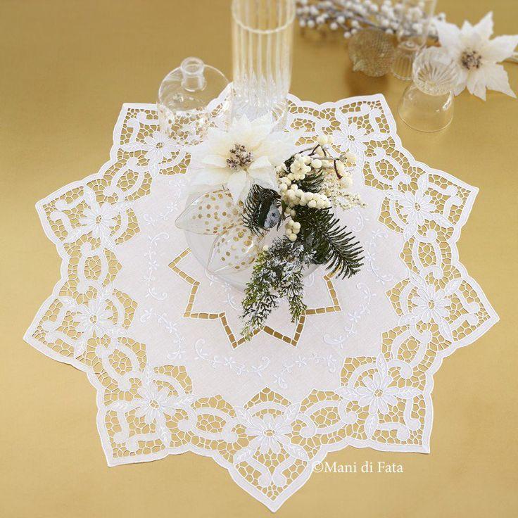 lino bianco disegnato per centro intaglio stella