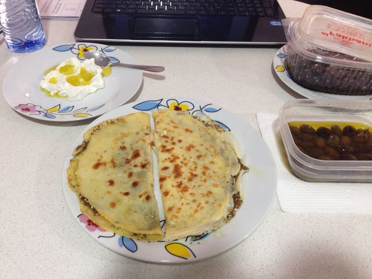 """Instead of man2oushe dough I did a crepe dough  """"Cocktail & zaatar"""" Mixed crepe """"thyme with cheese"""" Thyme Pure Lebanese with Labne & olives on the side"""