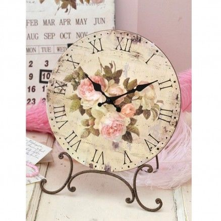 French Style Desktop Clock with Pink Roses $22.00 #thebellacottage #shabbychic #french