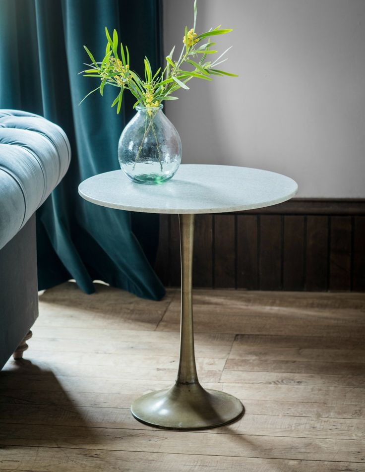 White Marble Hotel Side Table at Rose and Grey
