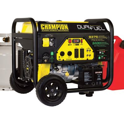 Champion Power Equipment Portable Dual Fuel Generator — 9375 Surge Watts, 7500 Rated Watts, Electric Start, Model# 100165