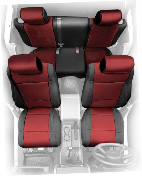 Smittybilt Front Neoprene Seat Covers in Black/Red with <font color=red>FREE</font> Rear | Jeep Parts and Accessories | Quadratec