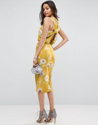ASOS Drape Twist Back Floral Midi Dress