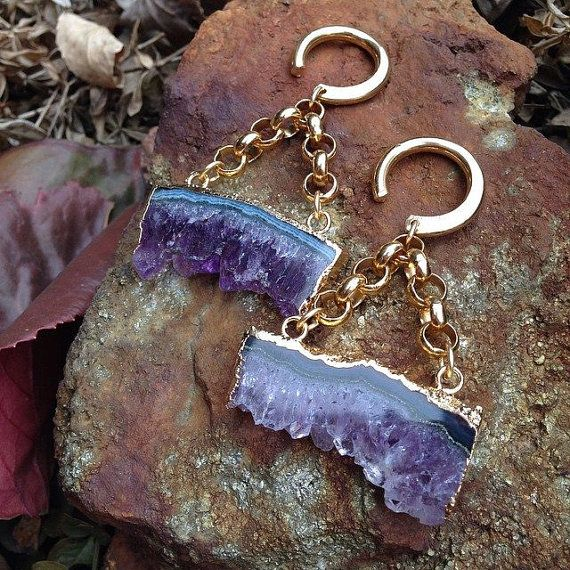 Hey, I found this really awesome Etsy listing at https://www.etsy.com/listing/222397422/amethyst-slice-ear-weights-earrings-for