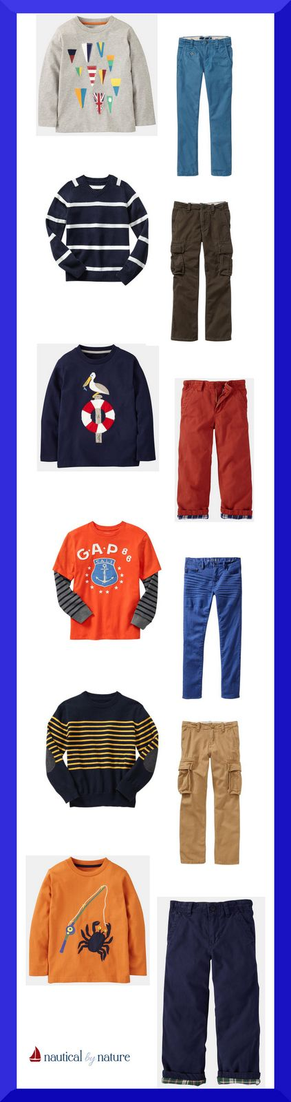 Back to school nautical outfits for boys (Mini Boden and Gap)