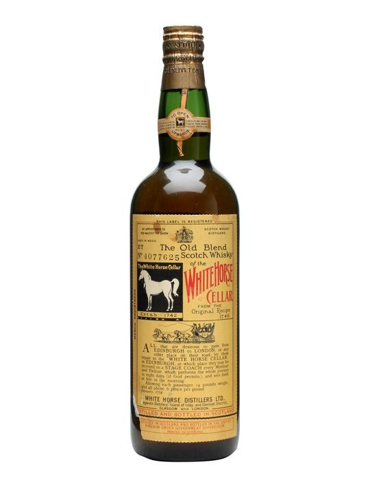 White Horse / Bot.1950s : Buy Online - The Whisky Exchange - An old bottle of White Horses blended Scotch whisky, well preserved and beautifully labelled.