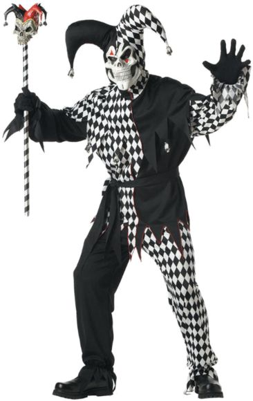 Adult Black And White Evil Jester Costume | Jokers Masquerade