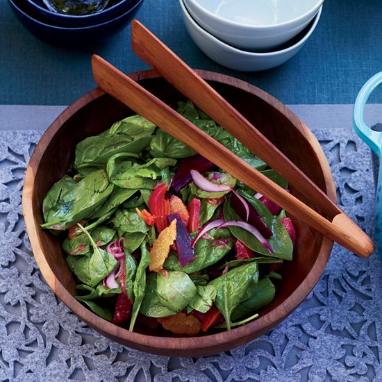 Spinach Salad with Citrus and Roasted Beets | Curly leaf spinach has great texture and flavor and holds this mustardy dressing well.