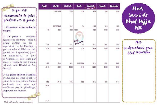 As selem aleykoum les filles, Nous débutons aujourd'hui le 1er du mois de Dhul Hijja 1436;(12ème mois du calendrier musulman, le mois du Pèlerinage), on s