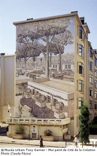 Musée urbain Tony Garnier - mur peint