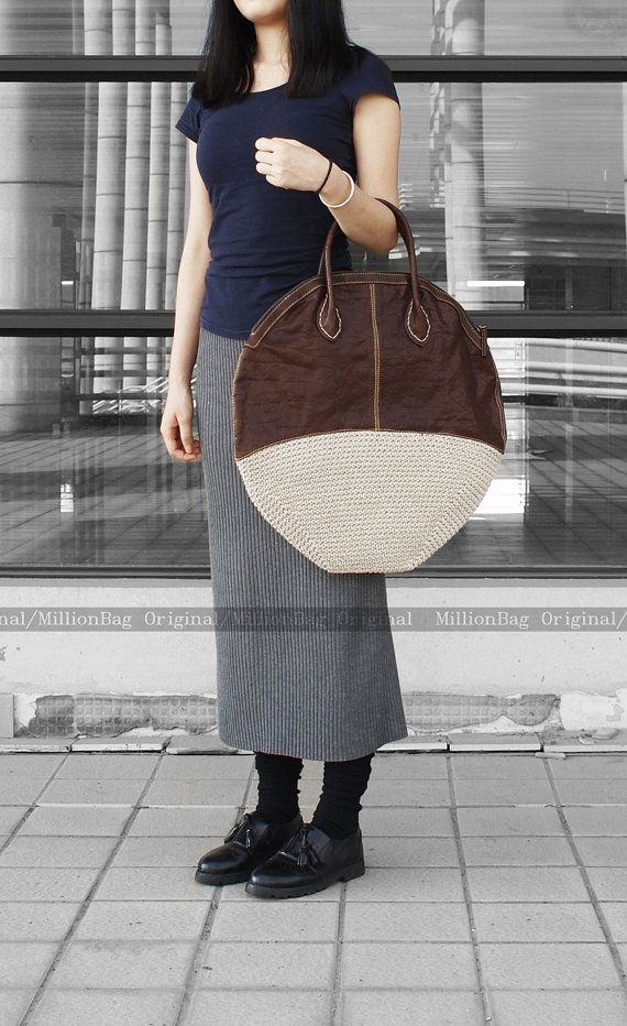 Knitting Bag, Genuine Leather Handmade Purse, Leather Purse, Knitting Hand Bag-H7272