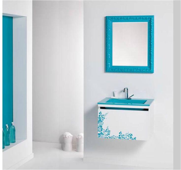 Mueble Baño Turquesa:Mueble de baño modelo Morea turquesa #maderó