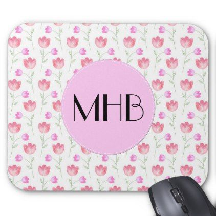 Monogram - Flowers Leaves Plant Stems - Pink Mouse Pad - floral style flower flowers stylish diy personalize