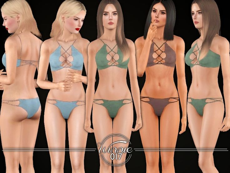 Bikini set with lace up detail  Found in TSR Category 'Sims 3 Female Clothing Sets'