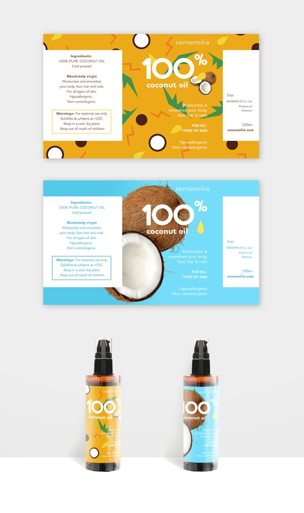 100% coconut oil label on Behance