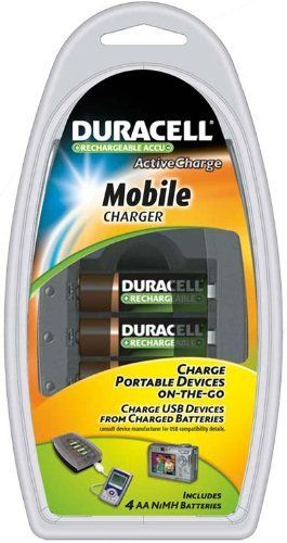 Duracell Mobile Charger with 4 AA Rechargeable NiMH Batteries, CEF23AU by Duracell. $18.99. Duracell Mobile Charger with 4 AA pre-charged rechargeable batteries  essentially serves as a portable power hub, delivering power from 4 charged batteries to a variety of high drain devices ranging from digital cameras to iPods.