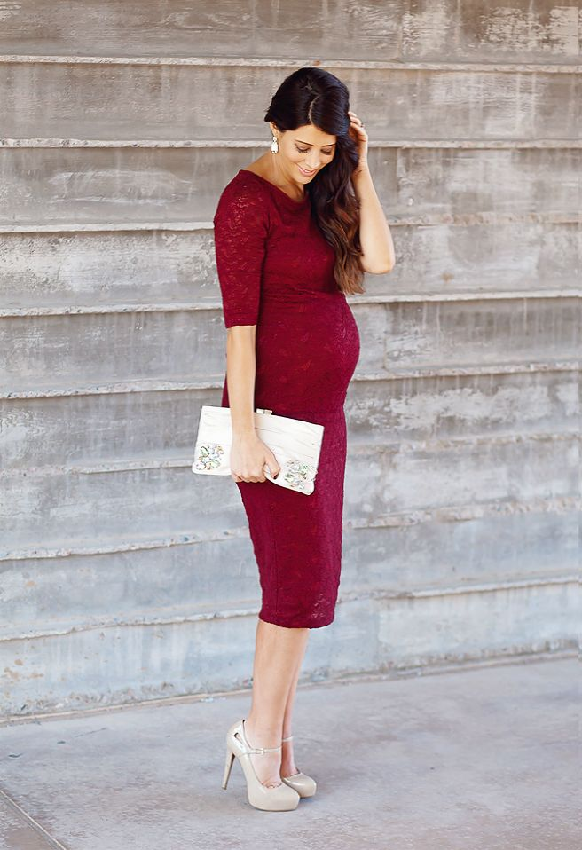 Burgundy Lace Maternity Dress! Complete your look with nude heels and a great clutch. Maternity fashion.