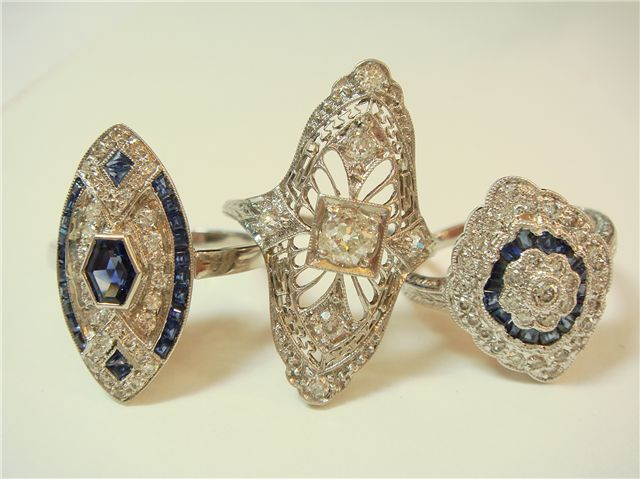 Beautiful Edwardian Rings.  Great for a Downton Dress-up Party