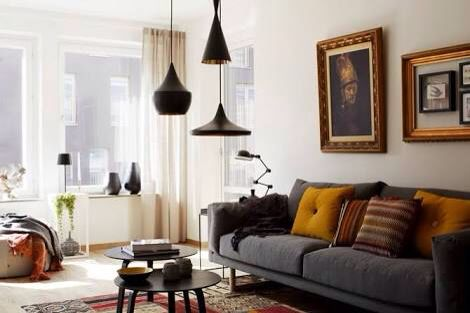 Using pendant lights as a cluster over a coffee table or in a corner can achieve the same effect as over a dining table. Installing at different heights and with different shapes creates an artistic silhouette.