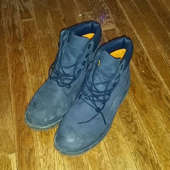 NEW Navy Blue Timberlands Brand New Navy Blue Timberland Boots... Only worn twice, sitting in my closet since November, just need gone! Make me an offer! no lowballing please! Timberland Shoes Combat & Moto Boots