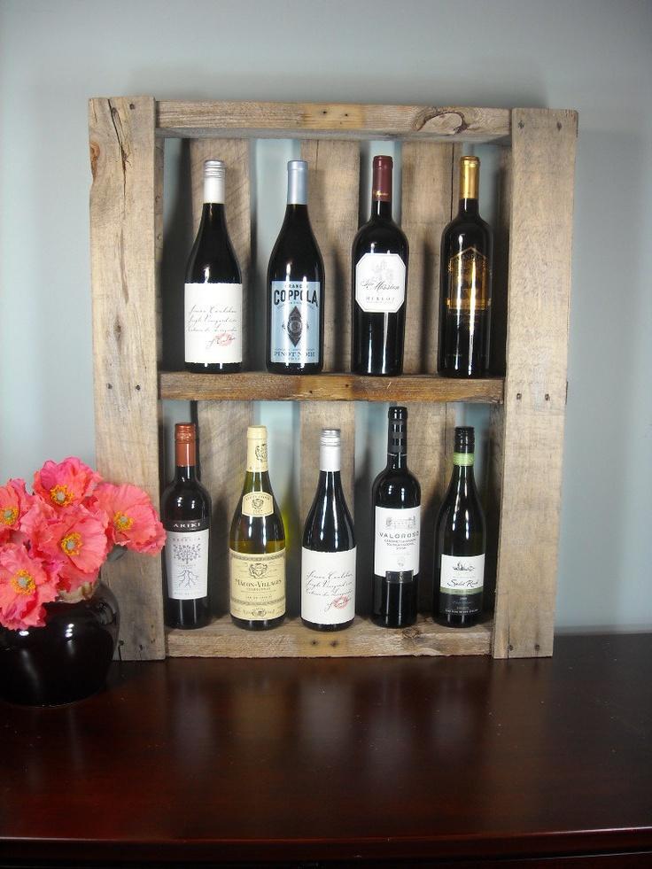 Reclaimed Pallet Wine Shelf / Photo Shelf / Rustic Wine Rack / Book Shelf / Liquor Cabinet / Kitchen or Bathroom Shelf. $45.00, via Etsy.