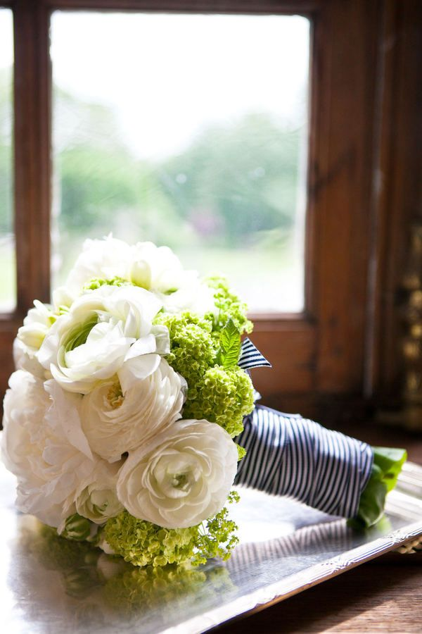 ranunculus and green hydrangea- and, oh, that ribbon!