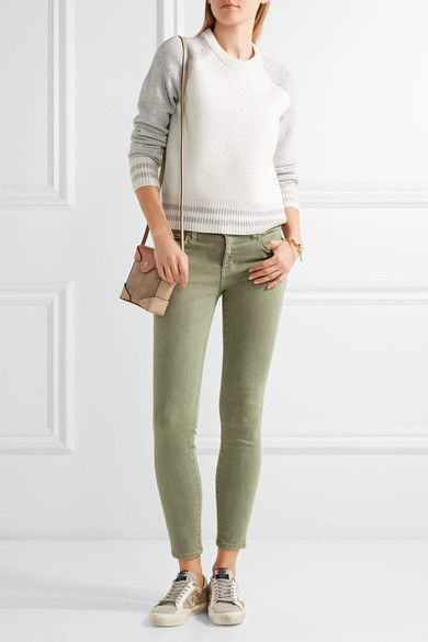 Current/Elliott - The Stiletto Mid-rise Skinny Jeans - Army green - 24