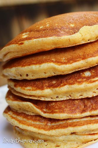 Buttermilk pancakes. We tried this this morning, & they were delicious!  Next time, we will double the recipe.