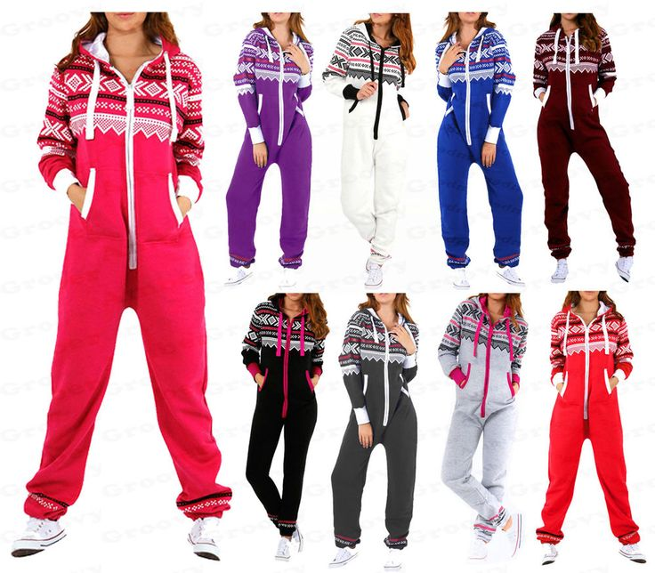 Womens Ladies NEW Aztec Printed Hooded Onesie Zip Up All in One Jumpsuit  S-5XL