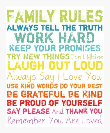 Family Rules ... #zulily #ad *love