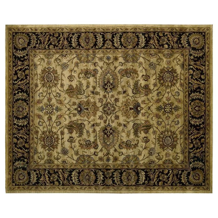 Nourison Jaipur Traditional Framed Floral Wool Rug, Yellow