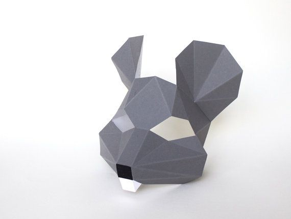 Printable Paper Mouse mask for kids, animal mask for children, Instant Pdf download, DIY Mouse