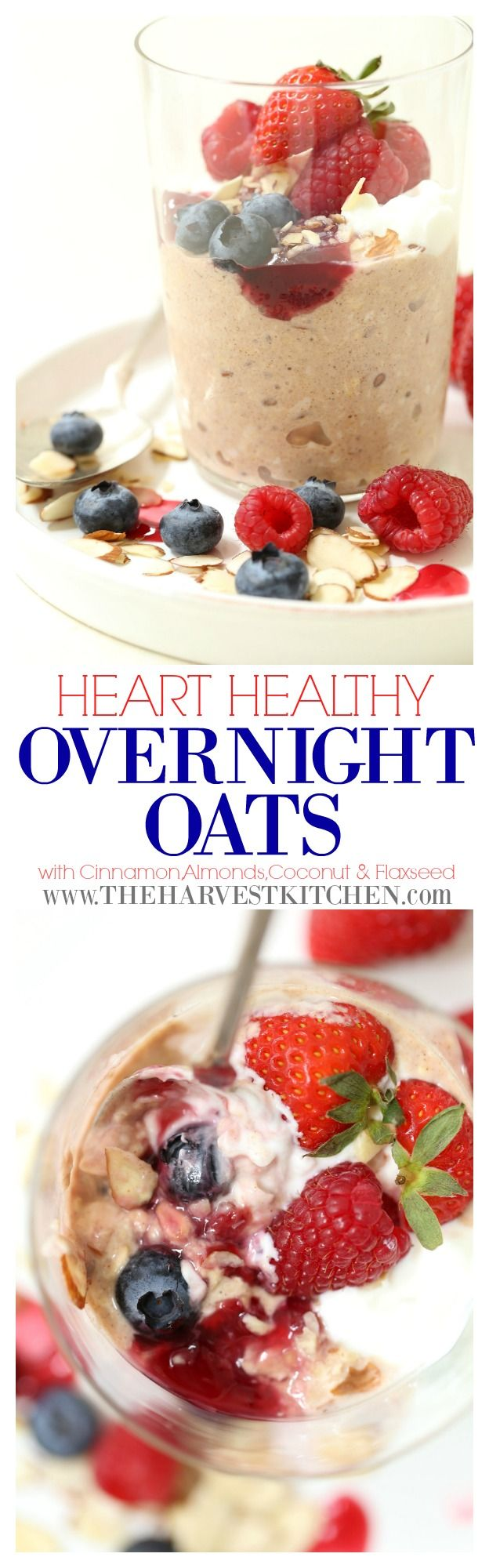 These Heart Healthy Overnight Oats are the quintessential healthy breakfast. They're a healthy and satisfying combination of rolled oats, sliced almonds, flaxseeds, shredded coconut and almond milk. Oats are a power food that's rich in fiber, vitamins and minerals, offering a host of benefits for our overall health.