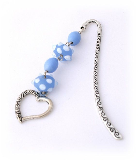 Blue Beaded Bookmark - Pale Blue White Glass  - Silver Heart - Bespoke Design Charm Bookmark