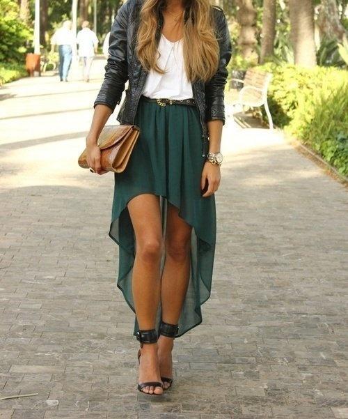 Hi-lo skirt. White tee. Moto jacket