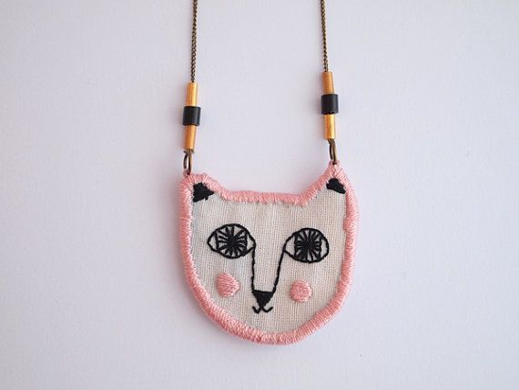 embroidered cat necklace