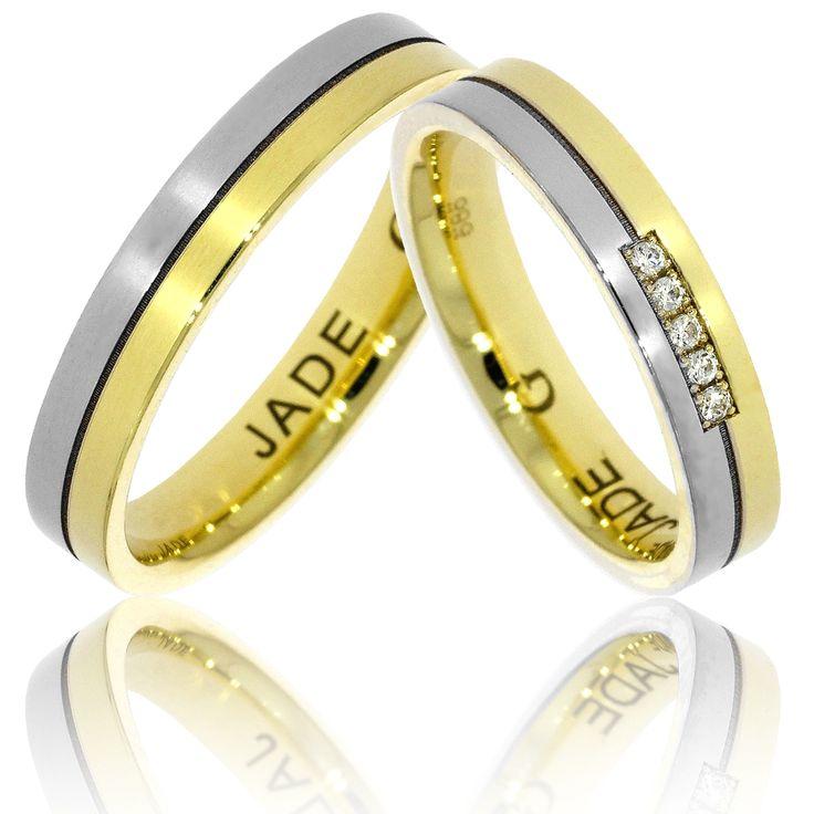 Verighete ATCOM Lux JADE aur galben cu alb